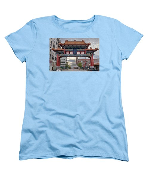 Women's T-Shirt (Standard Cut) featuring the photograph Sunset At Chinatown Gate In Seattle Washington by JPLDesigns
