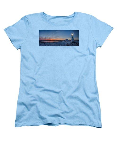 Sunset At Scituate Light Women's T-Shirt (Standard Cut) by Jeff Folger