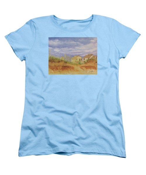 Women's T-Shirt (Standard Cut) featuring the painting Sunset Nantucket Beach by Carol Flagg