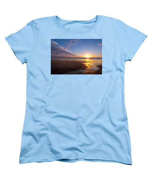 Sunset On The Beach At Carlsbad. Women's T-Shirt (Standard Cut) by Melinda Fawver