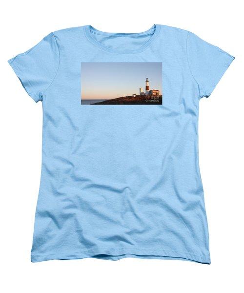 Sunset Over Montauk Lighthouse Women's T-Shirt (Standard Cut) by John Telfer