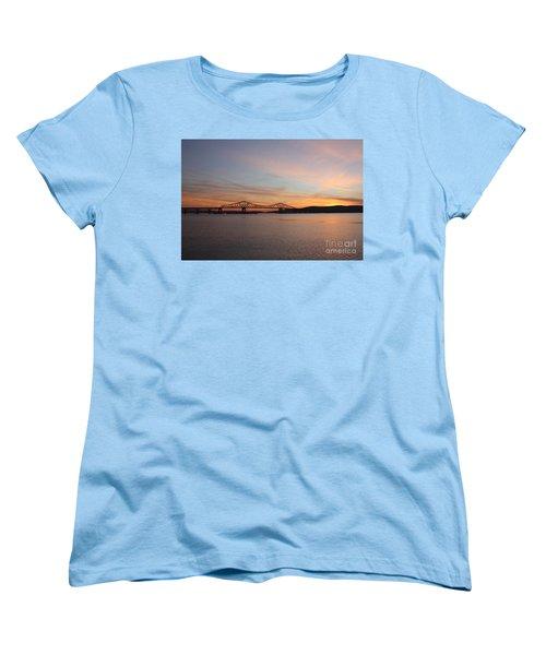Sunset Over The Tappan Zee Bridge Women's T-Shirt (Standard Cut) by John Telfer