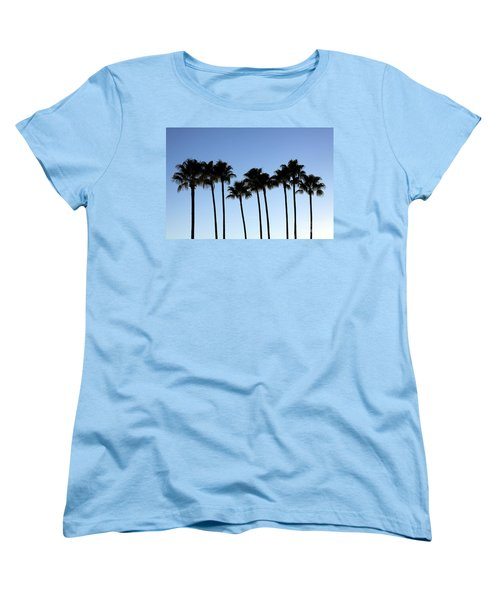 Women's T-Shirt (Standard Cut) featuring the photograph Sunset Palms by Chris Thomas