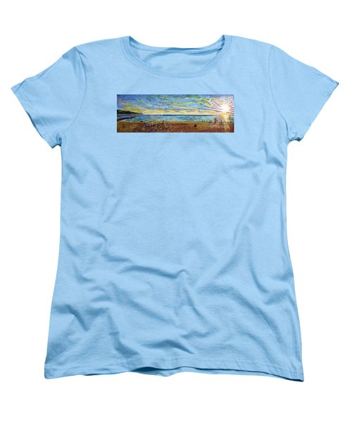 Sunset Volleyball At Old Silver Beach Women's T-Shirt (Standard Cut) by Rita Brown
