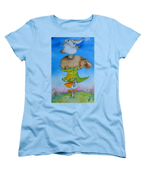 Super Mouse Pen & Ink And Wc On Paper Women's T-Shirt (Standard Cut) by Maylee Christie