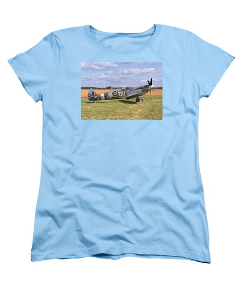 Women's T-Shirt (Standard Cut) featuring the photograph Supermarine Spitfire T9 by Paul Gulliver