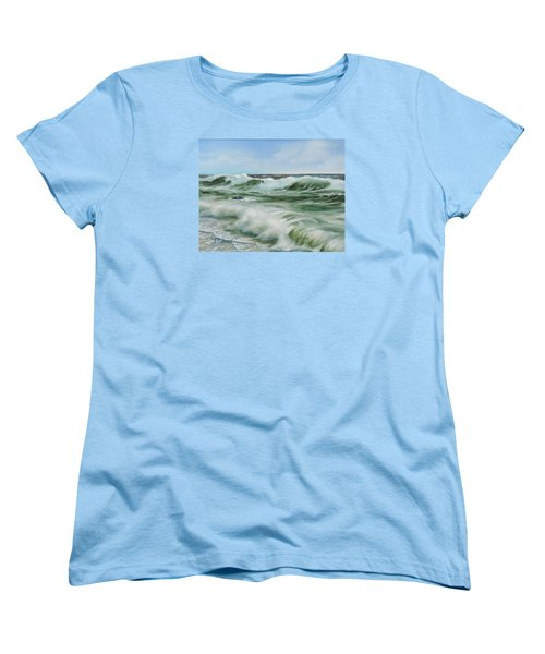 Women's T-Shirt (Standard Cut) featuring the painting Surf At Castlerock by Barry Williamson