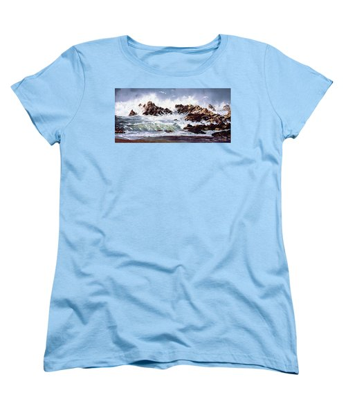 Women's T-Shirt (Standard Cut) featuring the painting Surf At Lincoln City by Craig T Burgwardt