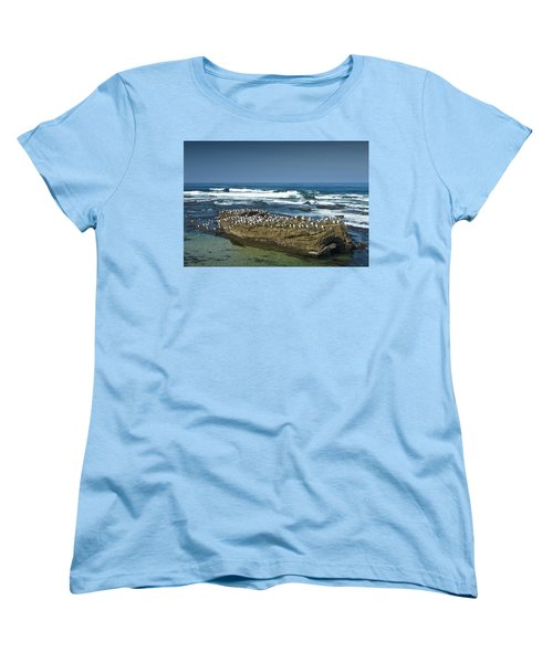 Surf Waves At La Jolla California With Gulls Perched On A Large Rock No. 0194 Women's T-Shirt (Standard Cut)