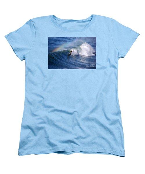 Surfing Under A Rainbow Women's T-Shirt (Standard Cut) by Catherine Sherman
