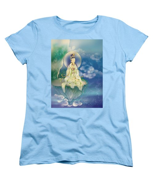 Women's T-Shirt (Standard Cut) featuring the photograph Sutra-holding Kuan Yin by Lanjee Chee