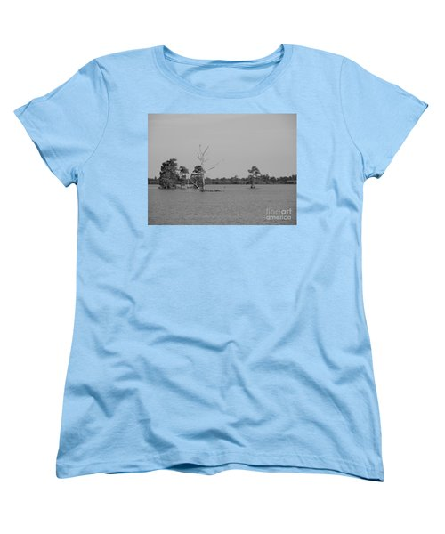 Women's T-Shirt (Standard Cut) featuring the photograph Swamp Cypress Trees Black And White by Joseph Baril