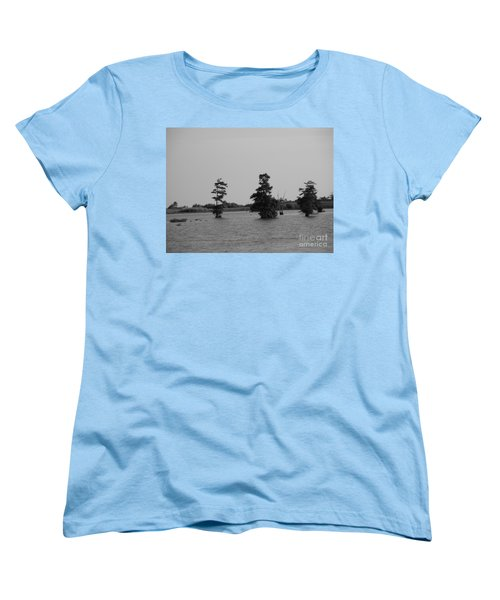 Women's T-Shirt (Standard Cut) featuring the photograph Swamp Tall Cypress Trees Black And White by Joseph Baril