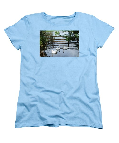 Swans In The Pond Women's T-Shirt (Standard Cut) by Beverly Stapleton