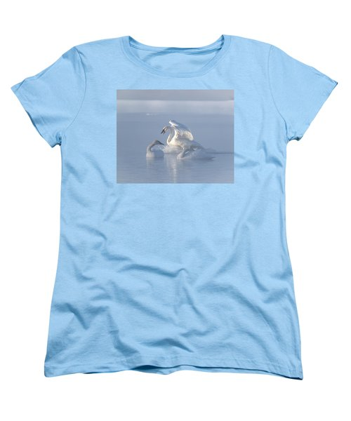 Women's T-Shirt (Standard Cut) featuring the photograph Trumpeter Swans - Three's Company by Patti Deters