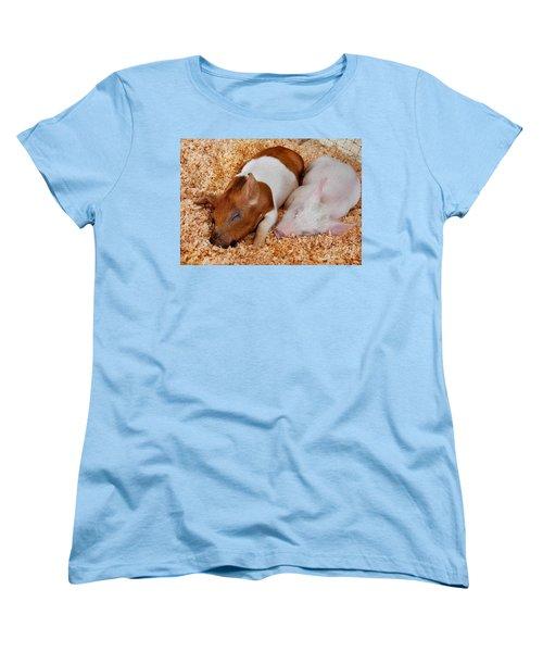 Sweet Piglets Nap Art Prints Women's T-Shirt (Standard Cut) by Valerie Garner