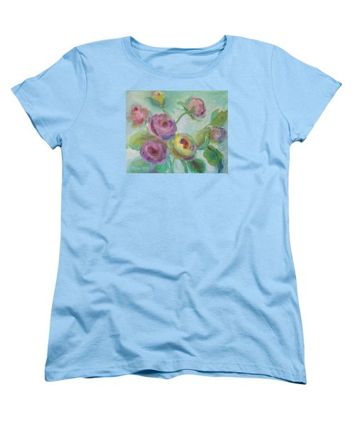 Women's T-Shirt (Standard Cut) featuring the painting Sweetness Floral Painting by Mary Wolf
