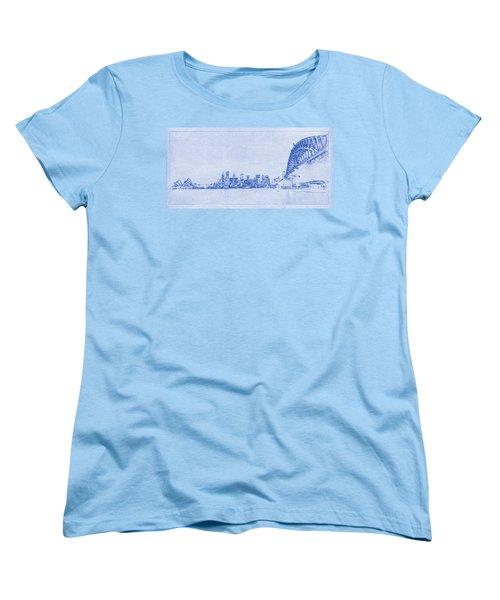 Sydney Skyline Blueprint Women's T-Shirt (Standard Cut) by Kaleidoscopik Photography