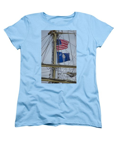 Women's T-Shirt (Standard Cut) featuring the photograph Tall Ships Flags by Dale Powell
