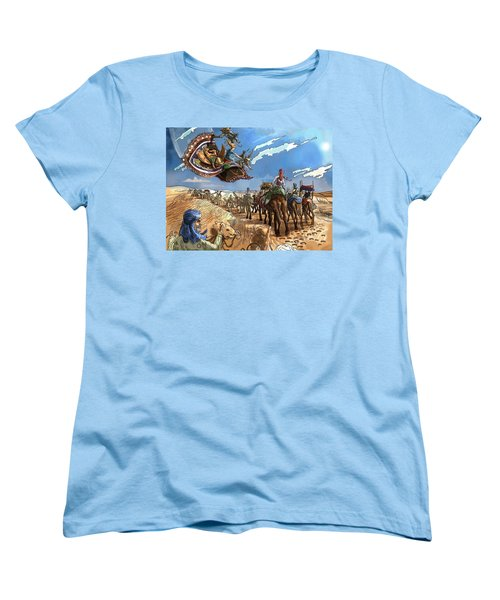 Women's T-Shirt (Standard Cut) featuring the painting Tammy And The Flying Carpet by Reynold Jay
