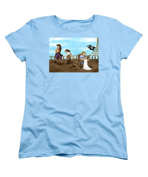 Women's T-Shirt (Standard Cut) featuring the painting Tammy And The Pirates by Reynold Jay