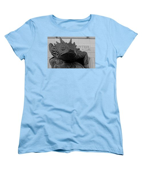Tcu Horned Frog Black And White Women's T-Shirt (Standard Cut) by Jonathan Davison