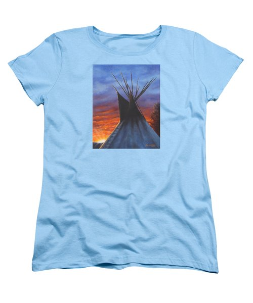 Women's T-Shirt (Standard Cut) featuring the painting Teepee At Sunset Part 2 by Kim Lockman