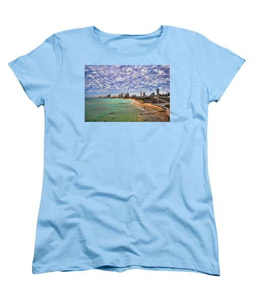 Women's T-Shirt (Standard Cut) featuring the photograph Tel Aviv Turquoise Sea At Springtime by Ron Shoshani