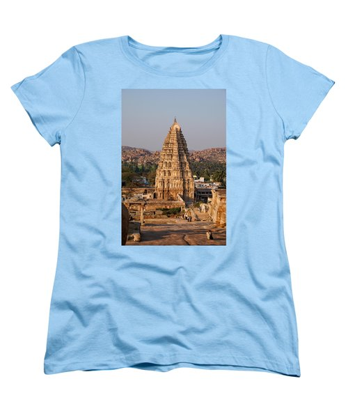 Temple At Hampi Women's T-Shirt (Standard Cut) by Carol Ailles