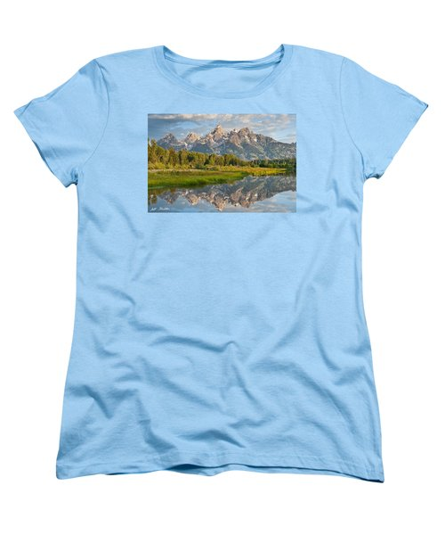 Women's T-Shirt (Standard Cut) featuring the photograph Teton Range Reflected In The Snake River by Jeff Goulden