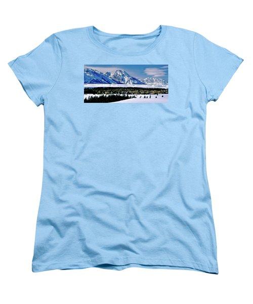 Teton Valley Winter Grand Teton National Park Women's T-Shirt (Standard Cut) by Ed  Riche