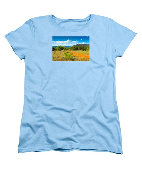 Women's T-Shirt (Standard Cut) featuring the photograph Texas Hill Country Red Dirt Road by Darryl Dalton