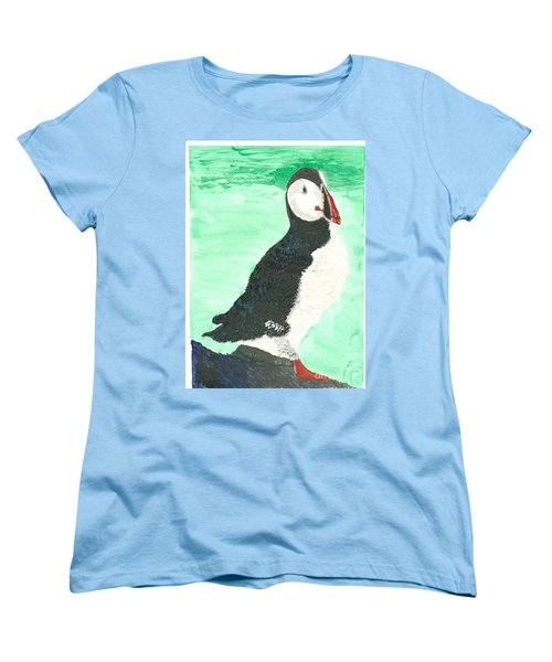 Women's T-Shirt (Standard Cut) featuring the painting That's Another Puffin Year Over by Tracey Williams