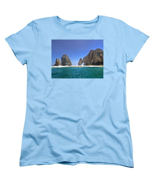 Women's T-Shirt (Standard Cut) featuring the photograph The Arch  Cabo San Lucas On A Low Tide by Eti Reid