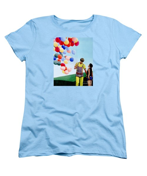 Women's T-Shirt (Standard Cut) featuring the painting The Balloon Man by Michael Swanson