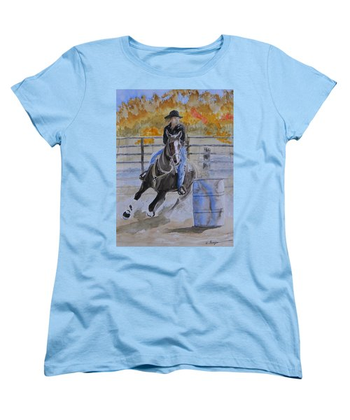 The Barrel Race Women's T-Shirt (Standard Cut) by Warren Thompson