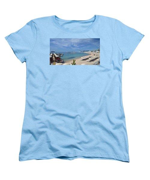 Women's T-Shirt (Standard Cut) featuring the photograph The Beach At Cannes by Allen Sheffield