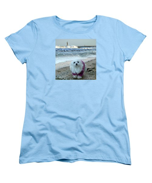 Women's T-Shirt (Standard Cut) featuring the mixed media The Beach In Winter by Morag Bates