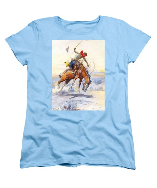 The Bucker By Charles M Russell Women's T-Shirt (Standard Cut) by Pg Reproductions