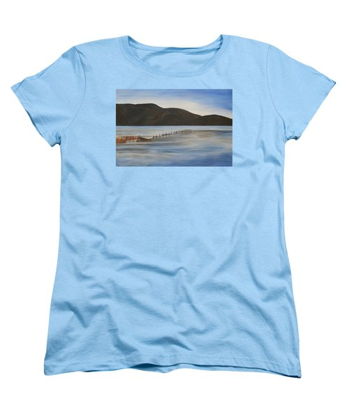 Women's T-Shirt (Standard Cut) featuring the painting The Calm Water Of Akyaka by Tracey Harrington-Simpson