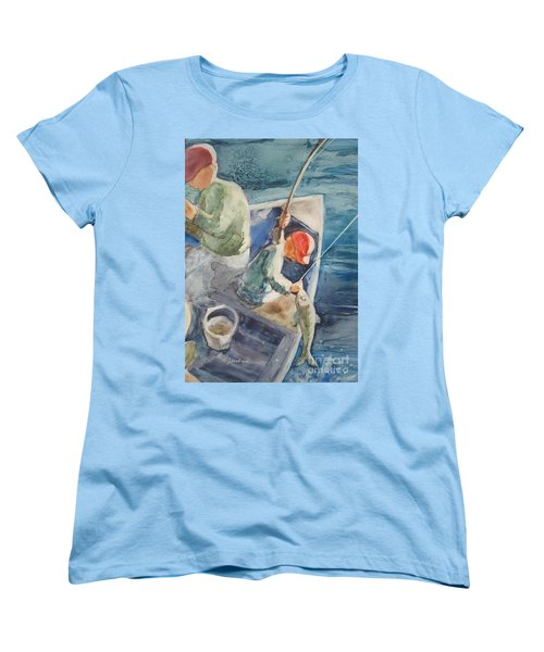 The Catch Women's T-Shirt (Standard Cut) by Marilyn Jacobson