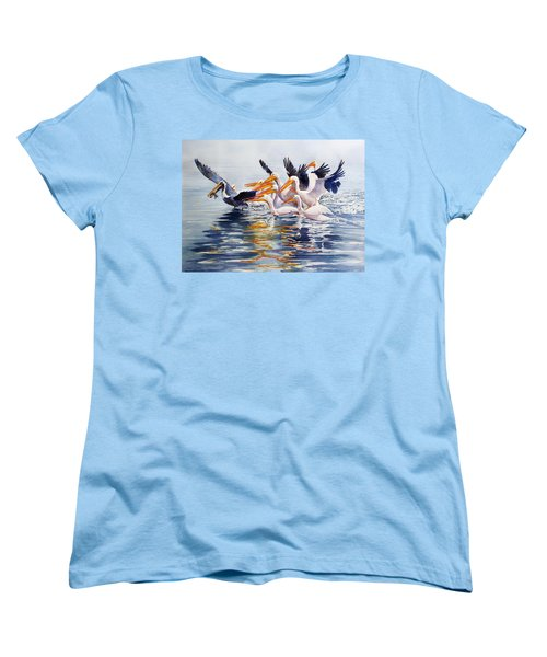 Women's T-Shirt (Standard Cut) featuring the painting The Chase Of The Outsider by Roger Rockefeller