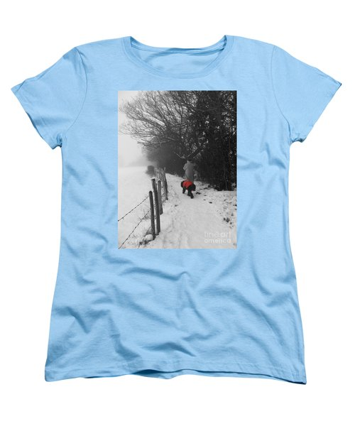 Women's T-Shirt (Standard Cut) featuring the photograph The Dog In The Red Coat by Vicki Spindler