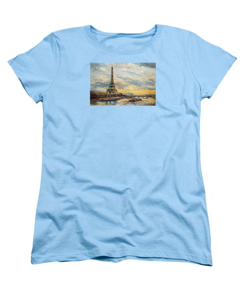 The Eiffel Tower- From The River Seine Women's T-Shirt (Standard Cut) by Joey Agbayani