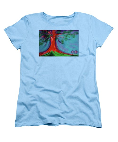 Women's T-Shirt (Standard Cut) featuring the painting The First Tree By Jrr by First Star Art
