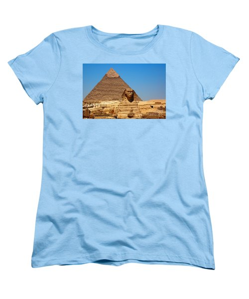 Women's T-Shirt (Standard Cut) featuring the photograph The Great Sphinx Of Giza And Pyramid Of Khafre by Joe  Ng