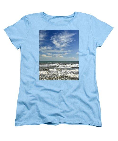 The Gulf Of Mexico From Galveston Women's T-Shirt (Standard Cut) by Allen Sheffield