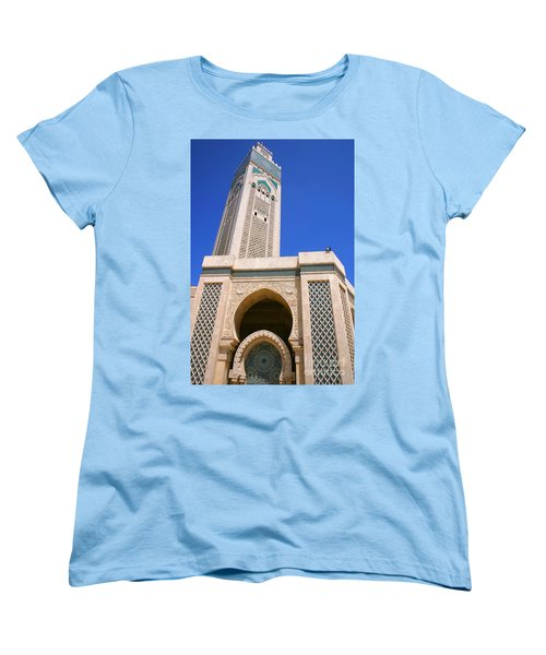 The Hassan II Mosque Grand Mosque With The Worlds Tallest 210m Minaret Sour Jdid Casablanca Morocco Women's T-Shirt (Standard Cut) by Ralph A  Ledergerber-Photography