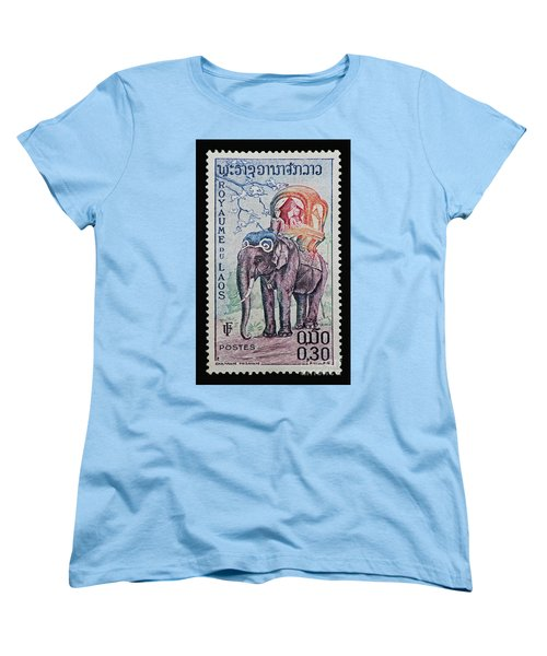 Women's T-Shirt (Standard Cut) featuring the photograph The King's Elephant Vintage Postage Stamp Print by Andy Prendy