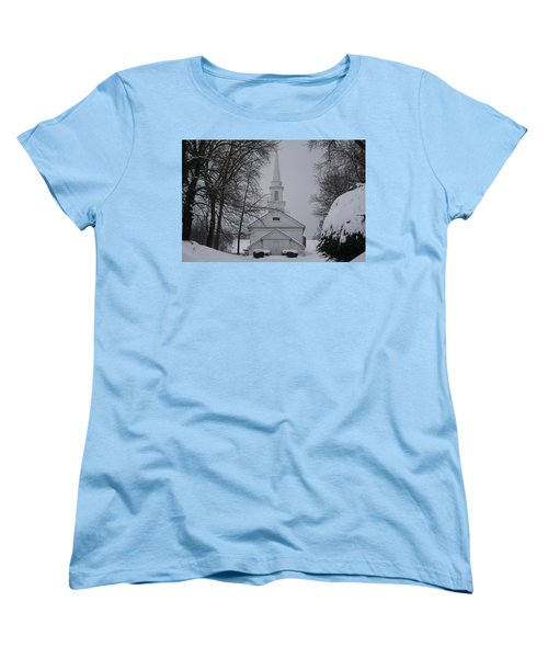 Women's T-Shirt (Standard Cut) featuring the photograph The Little White Church by Dora Sofia Caputo Photographic Art and Design